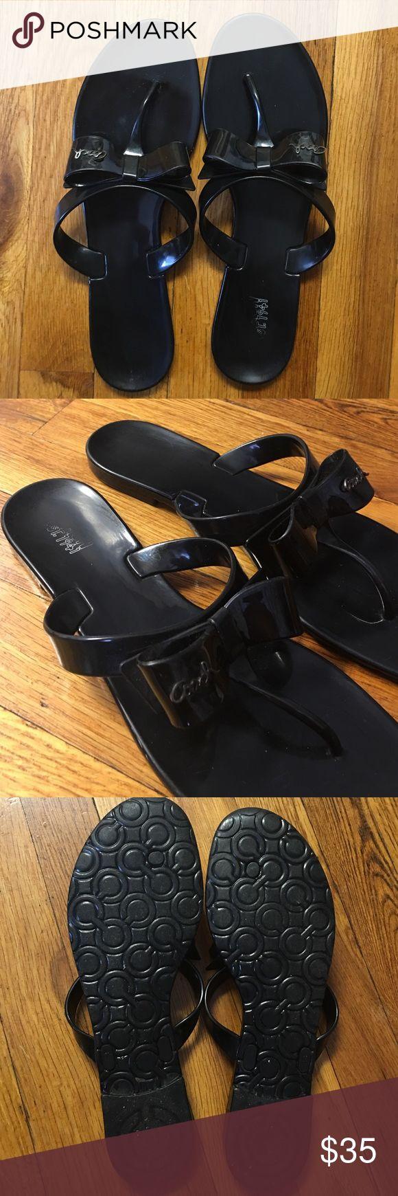 Coach Bow Sandals Cute Coach black plastic sandals, size 10, in good condition Coach Shoes Sandals