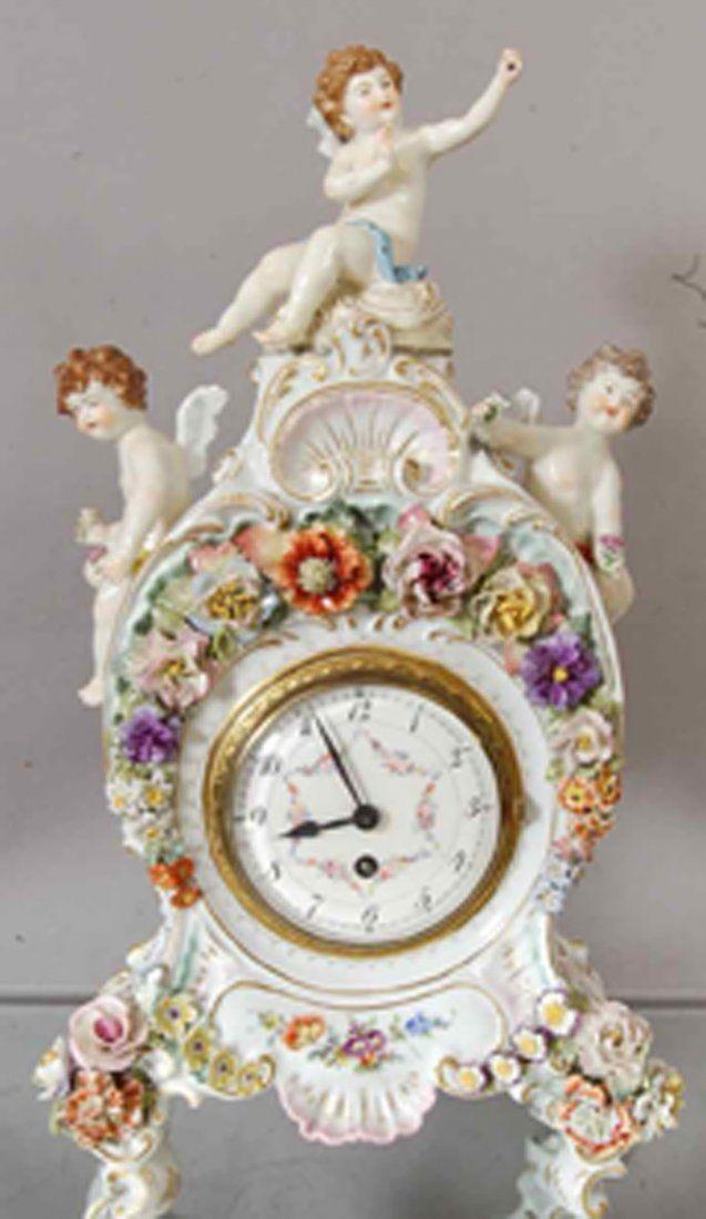 Meissen style German Porcelain mantel clock