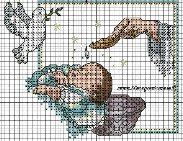 schema punto croce battesimo
