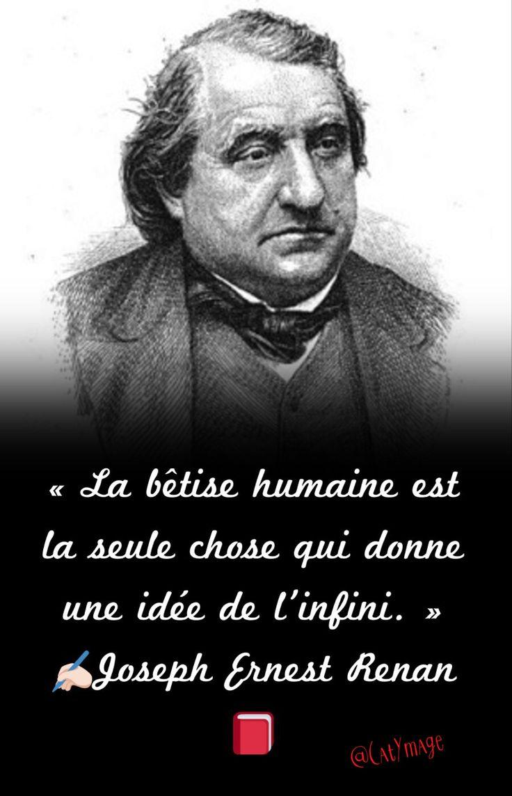 «La bêtise humaine est la seule chose qui donne une idée de l'infini.» ✍Joseph Ernest Renan
