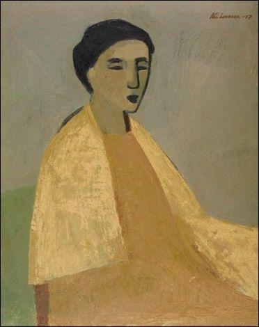 Ahti Lavonen: Keltainen huivi, 1957, öljy kankaalle, 81x65 cm