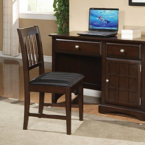 Awesome Amazon.com   Armless Chair With Slat Back In Rich Cappuccino Finish   Task  Chairs