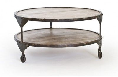 Bombay sofabord bord sofa table round brown rustik rustic metal shelf wheel swedish design rge www.helsetmobler.no