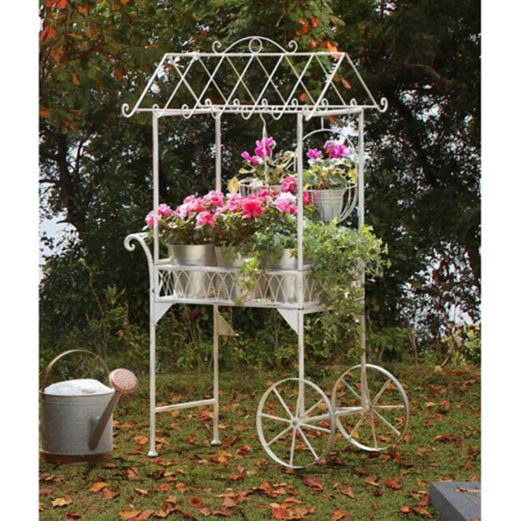 Sunjoy Steel Flower Cart White 110302005 Flower Cart