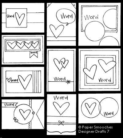 Paper Smooches: Designer Drafts card sketches