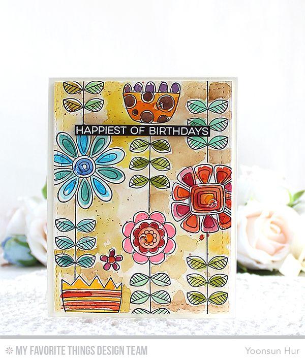 Doodled Blooms Card Kit, Wonky Rectangle STAX Die-namics - Yoonsun Hur #mftstamps