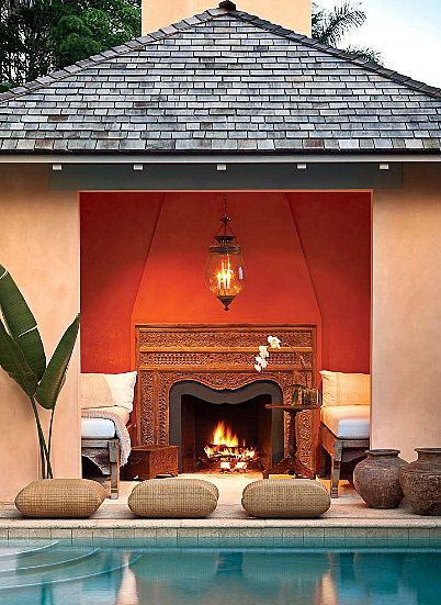 Moroccan pool houseBlue Velvet, Decor Room, Design Room, Living Room Design, Design Interiors, Dreams House, Outdoor Room, Outdoor Spaces, Design Home