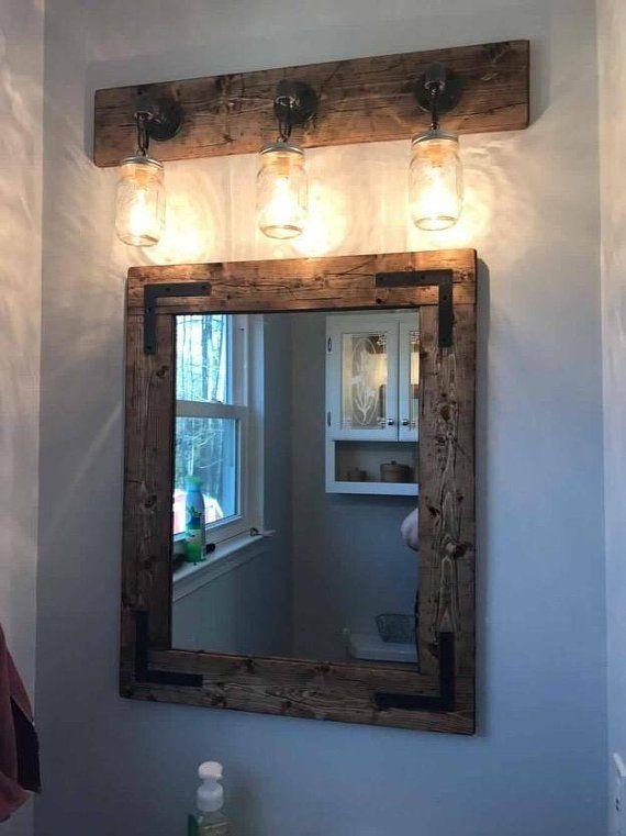 Rustic Distressed Farmhouse Mirror Wall Mirror Vintage Etsy Farmhouse Mirrors Rustic Bathrooms Mason Jar Light Fixture
