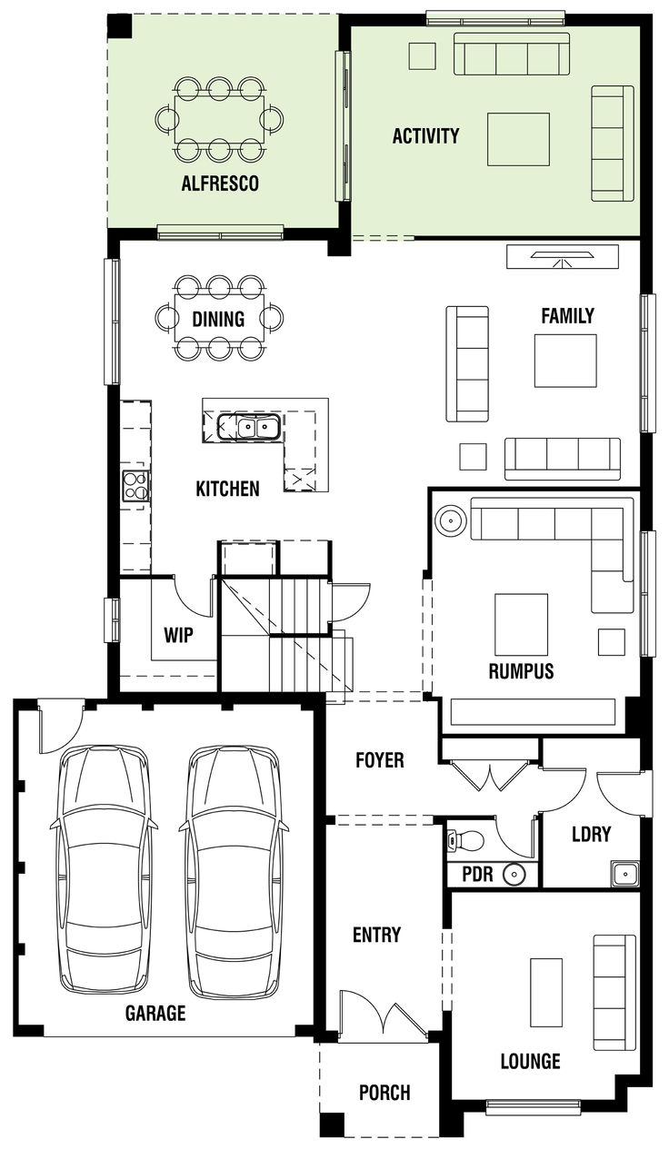 House Design: Wembley - Porter Davis Homes Extend laundry & pwdr into lounge area, use lounge as a study. Add a door from the garage into the foyer. Change the shape of the kitchen island. Add a fireplace in the family room. Increase the size of the garage.