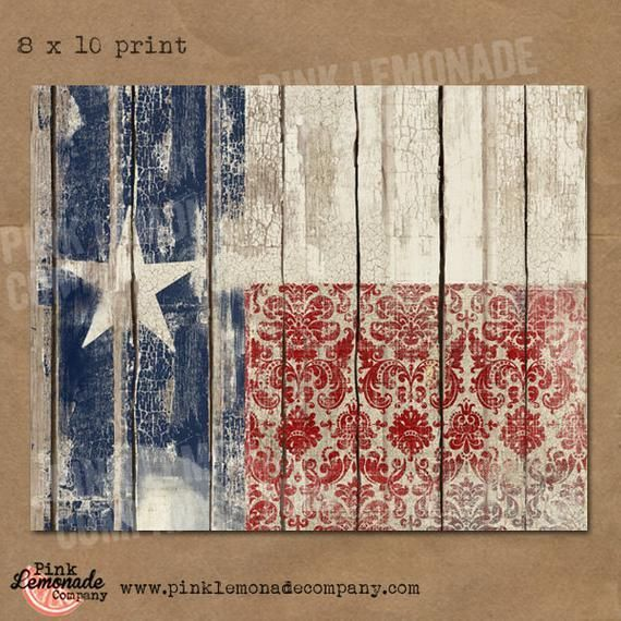 Texas Flag Art Print instant download vintage wood chippy paint distressed worn white red blue lone