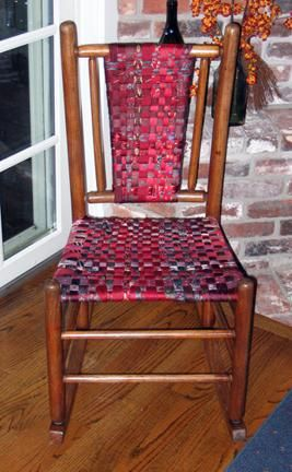 The seat and back of this chair consists of woven men's neckties-think of the possibilities.