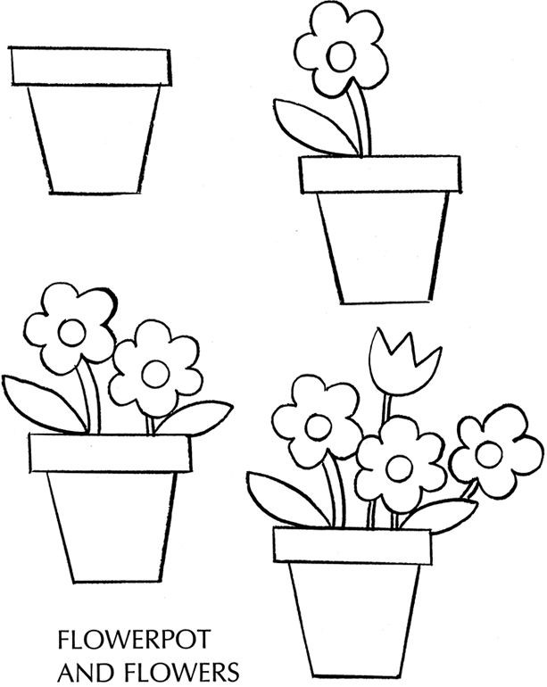 how to draw a pot flowers spring free sample page from dover - Painting Sketches For Kids