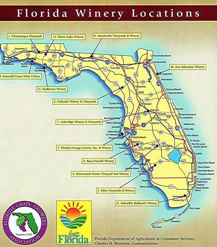Florida Wineries Map www.avacationrental4me.com