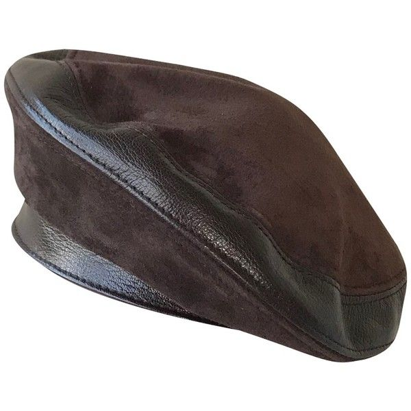 Pre Owned Basque Beret 490 Liked On Polyvore Featuring Accessories Hats Brown Fendi Hat Brown Berets Logo H Brown Leather Hat Leather Hats Brown Hats