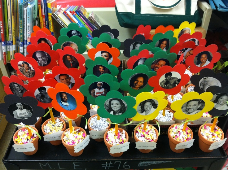 Black history month mini centerpieces flower pot