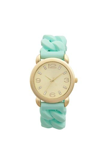 Global Time Braided Silicone Strap Watch, 34mm (Juniors) | Nordstrom