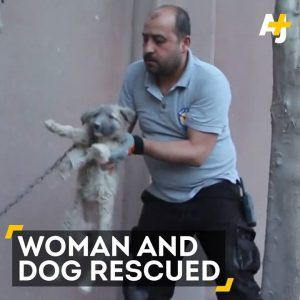 A Syrian woman and a small dog were rescued after an explosion outside Aleppo. #news #alternativenews