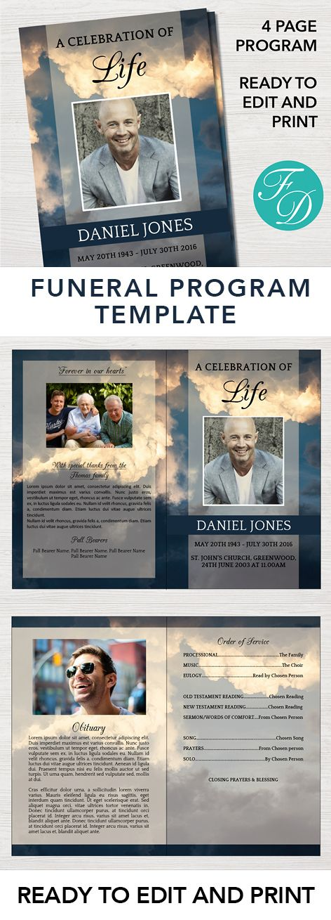 190 best Funeral Programs for Men Obituary Templates \ Prayer - funeral template download