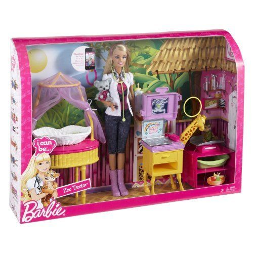 Barbie I can be Zoo Doctor Play Set by MATTEL. $61.00. Barbie doll included. Ages 3 and over. Barbie I Can Be Zoo Doctor Playset. Girls can play out the role of zoo doctor with Barbie doll, plus have access to additional online content that allows girls to further try on the role. Code inside each package unlocks career-themed online content to print out. Barbie doll takes care of the baby zoo animals to make sure they are happy and healthy. She can x-ray by pulling ...