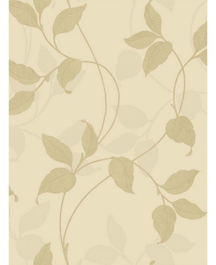 This Capriata Floral Leaf Wallpaper in gold and beige has a textured leaf trail pattern with subtle glitter highlights and a metallic sheen. Free UK delivery available
