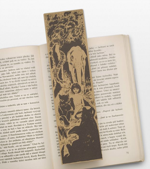 Mowgli Bookmark, with surrounded by friends Baloo, the bear and Bagheera, the black panther