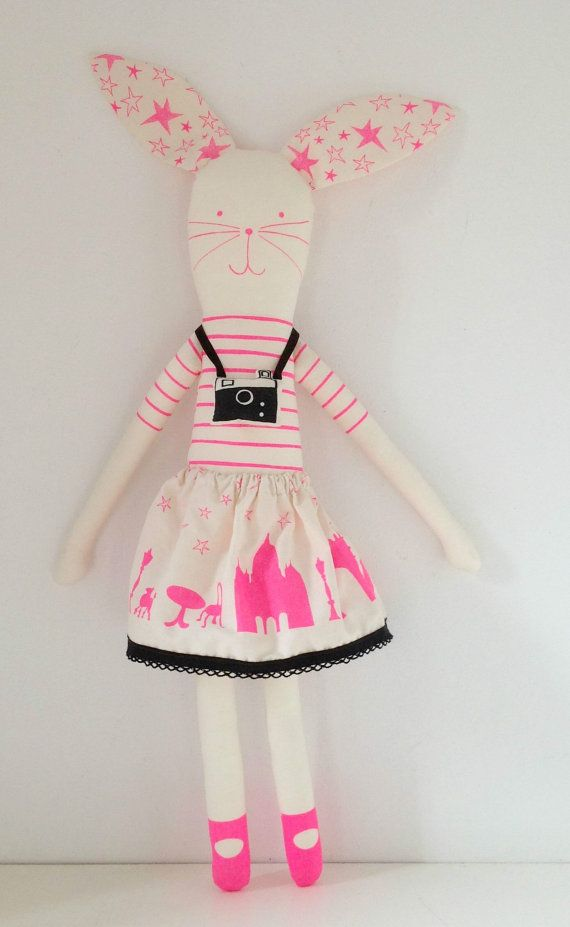 Neon pink I love Paris doll Kit van mikodesign op Etsy
