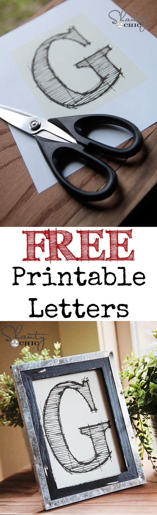 Free Printable Letters!  These are 5x7 and so cute!  Who doesn't love FREE?  Print on full sheet labels..