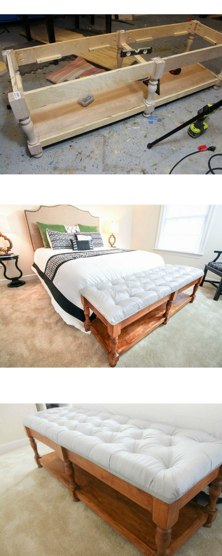 DIY how to build an elegantly tufted bench from scratch. Free Build plans. Woodworking. Interior design. build a bench #DIY @Toolboxdivas #bench #tufted bedside bench grey tufted bench for bedroom or entry #woodworkingbench