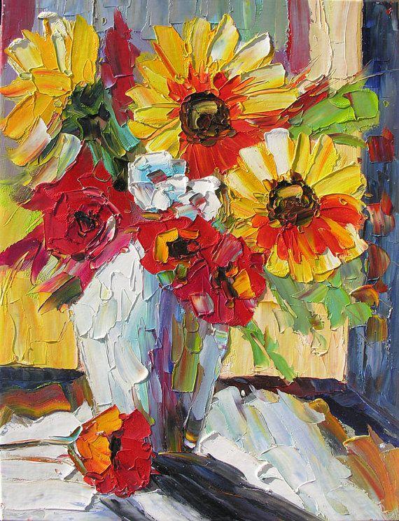 Original pintura al óleo espátula colorida flor florero Bouquet textura girasoles rosas amarillo rojo arte hecho a mano por Marchella hecho por encargo