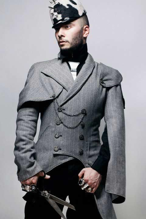 I have no idea at all.  None.  I actually do like the cravat/tie, though, but not sure it would work on your average Tuesday at the office.