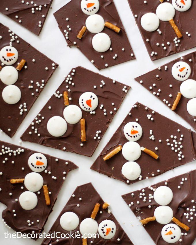 Snowman Chocolate Bark