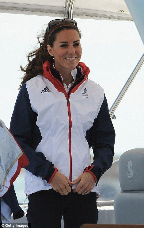 Kate wore her favourite Team GB supporters kit which kept her warm whilst she was out on the water. August 6, 2012