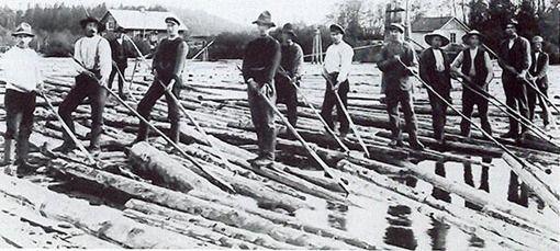 Conductores de troncos Transportaban hasta los aserraderos los troncos por el río flotando sobre ellos, antes de que se pudieran transportar en camiones.
