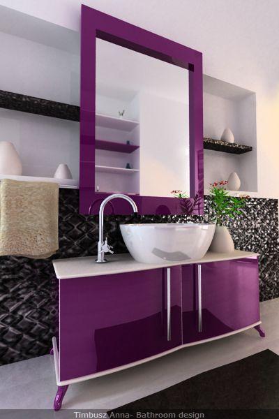 Modern Bathroom Purple Mirror In Colored