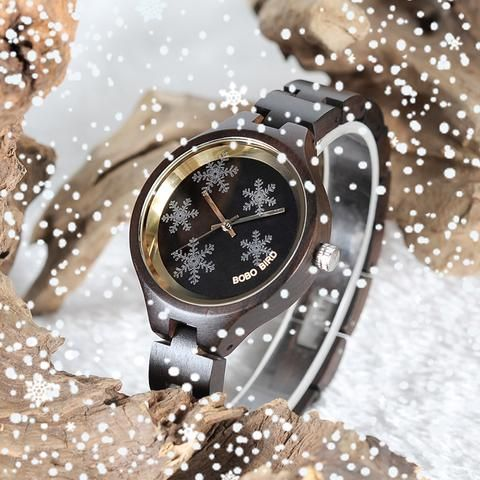 Simple Women's Snowflake Design Wooden Watches in Wooden Gift Box For Women in Wood Gift Case wood black new watch womens for her ladies  Mom mum style internet unique products shops fashion band awesome accessories gift ideas beautiful girls outfit boxes pictures gifts casual For sale buy online Shopping womens Websites montre en bois femme filles maman cadeaux idées originales mode Achat Acheter en ligne Site de vente france AuhaShop.com