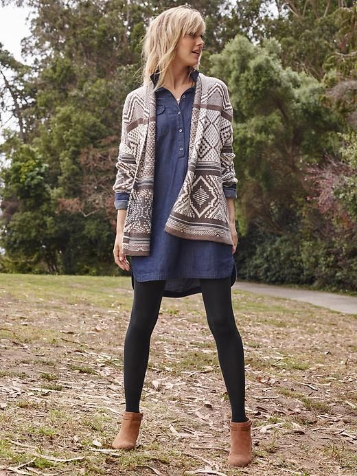 Chambray tunic, tights, cardi | Old Navy                                                                                                                                                                                 More