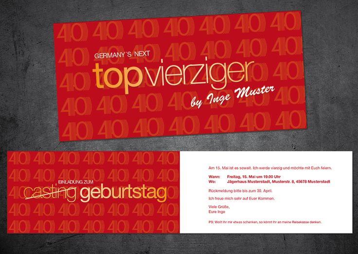 die besten 25+ einladungskarten 40. geburtstag ideen auf pinterest, Einladungsentwurf