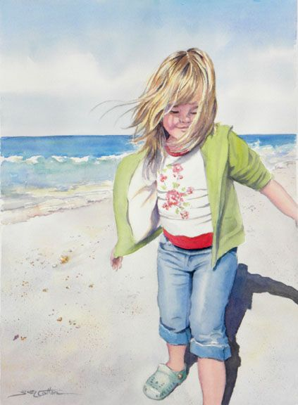 Little Girl by the Windy Seashore by Sue Lynn Cotton