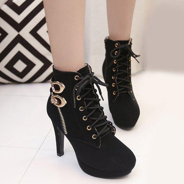 Metal Platform Stiletto Heel Short Boots #jewelry, #women, #men, #hats, #watches, #belts, #fashion