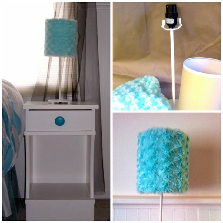 Fluffy turquoise lamp