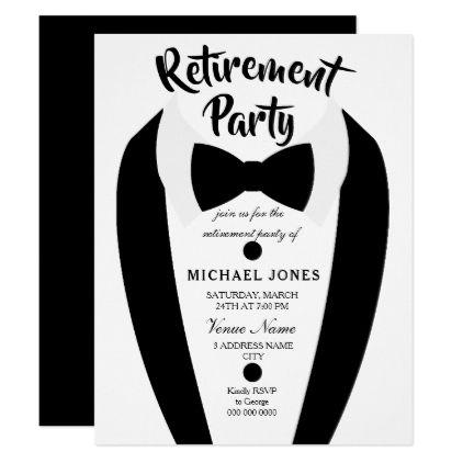 Black Tuxedo Bow Tie Retirement Party Invite - black gifts unique cool diy customize personalize