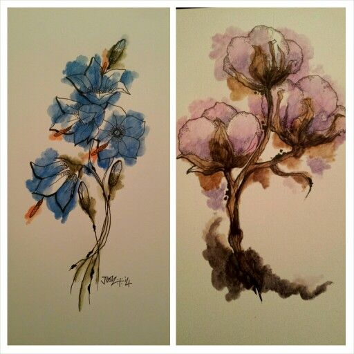 Harebells & Cotton Bolls. Two floral tattoo designs. For ...