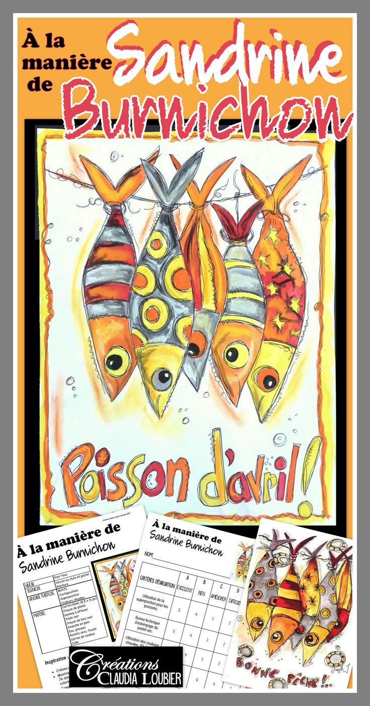 Voici un projet d'arts plastiques pour le poisson d'avril dans lequel vous découvrirez une artiste français fascinante : Sandrine Burnichon. À travers son art, elle s'est inventé un monde où se côtoient des animaux rigolos et des personnages singuliers. Arts plastiques primaire, éducation,Créations Claudia Loubier