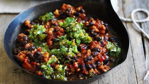 Neil Perry's chilli black beans with jalapeno salsa.