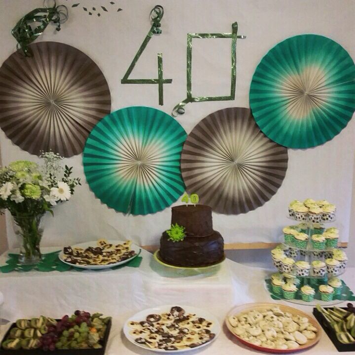 Dessert table 40th birthday, in green and brown/grey by PennyBridge Cupcakes