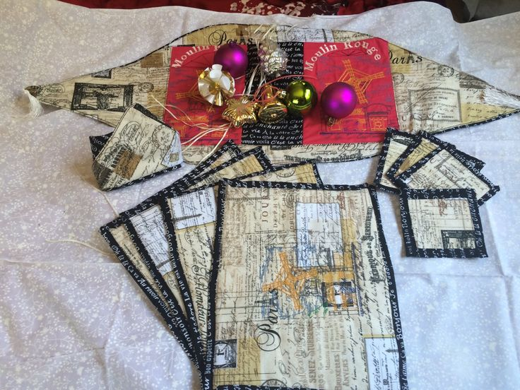 Paris table setting of 4, embroidered with moulin rouge includes placemats, serviettes, coasters and table runner by TeaBagEmbroidery on Etsy https://www.etsy.com/listing/251011150/paris-table-setting-of-4-embroidered