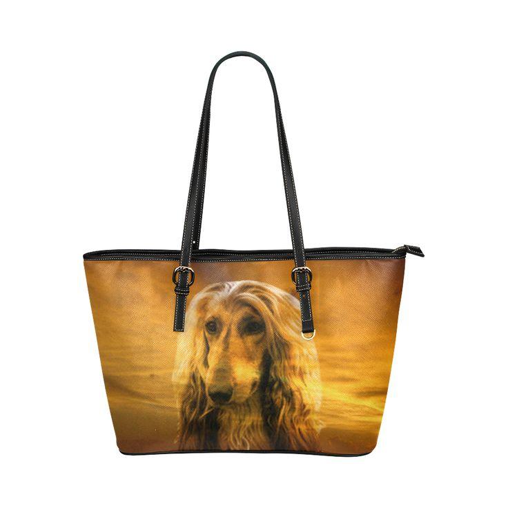 Dog Afghan Hound Leather Tote Bag/Large (Model 1651)