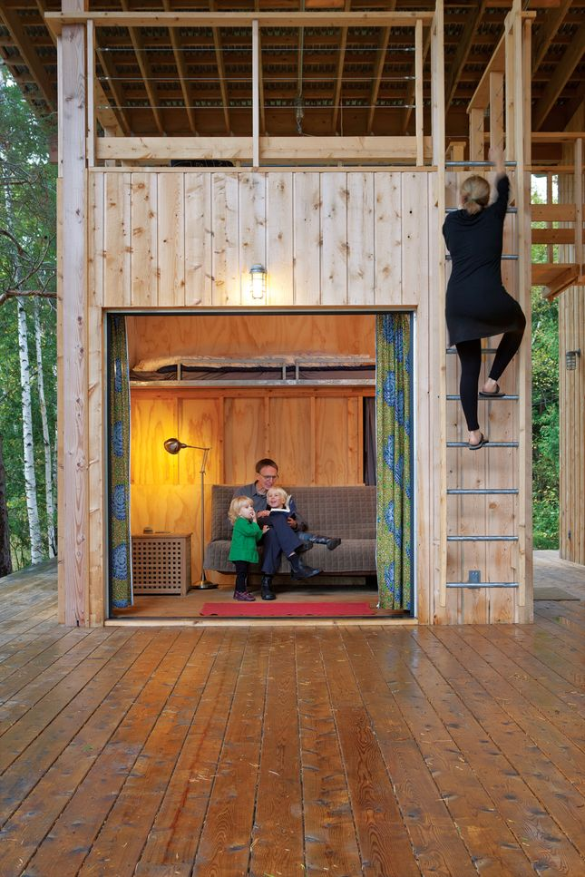 "Architects Melana Janzen and John McMinns ""cottage"" near Toronto. Together with a couple of friends they built a complex, not quite one house and not quite two, that can accommodate both families at once under the shelter of a giant covered porch.     http://www.dwell.com/articles/Time-Share.html"