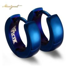 Meaeguet Trendy Cute Blue Hoop Earrings For Women Stainless Steel Earring jewelry 4 Color(China (Mainland))