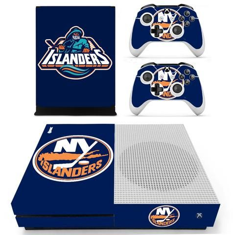 New York Islanders design skin decal for X-box one S console and 2 controllers